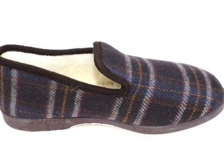 Charentaise écossaise marron fourrée en laine