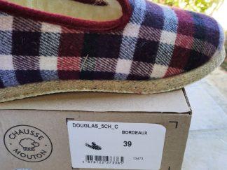 Chaussons Chausse Mouton pour femmes modèle Douglas couleur bordeaux avec semelles en feutre avec protection en confort crêpe